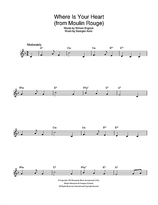 Where Is Your Heart (from Moulin Rouge) Sheet Music