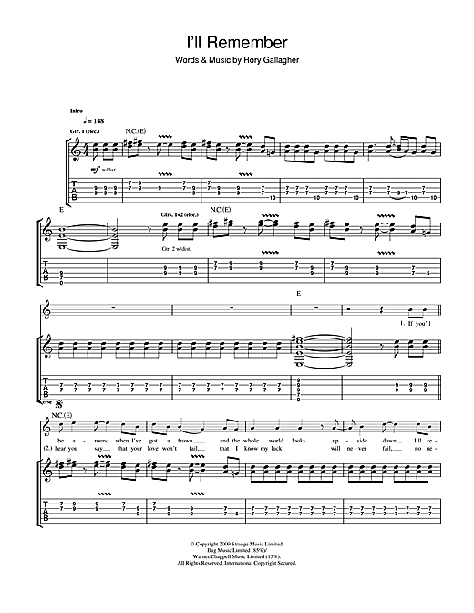 Tablature guitare I'll Remember de Taste - Tablature Guitare