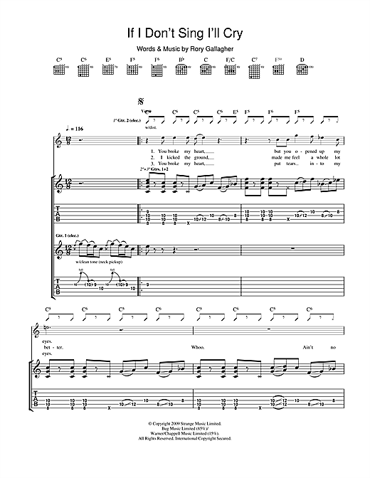 Tablature guitare If I Don't Sing I'll Cry de Taste - Tablature Guitare