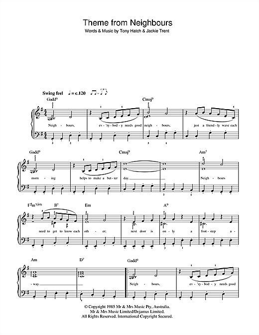 Partition piano Theme from Neighbours de Tony Hatch - Piano Facile
