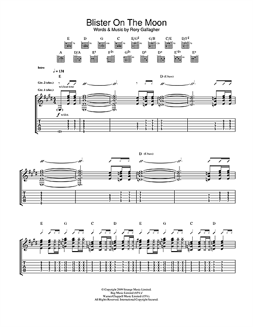 Tablature guitare Blister On The Moon de Taste - Tablature Guitare