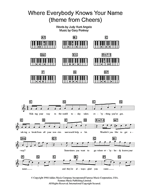 Partition piano Where Everybody Knows Your Name (Theme from Cheers) de Gary Portnoy - Synthétiseur