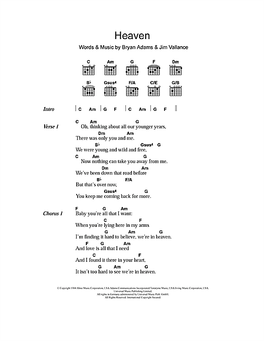 Heaven (Guitar Chords/Lyrics)