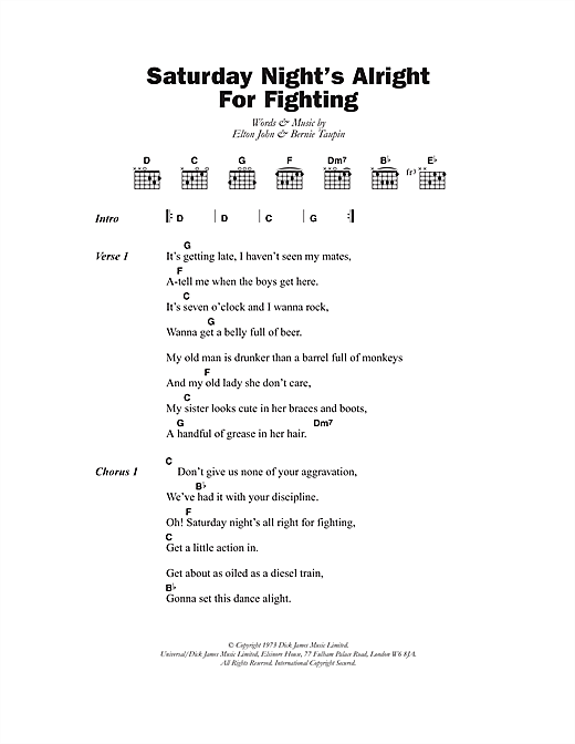 Saturday Night's Alright (For Fighting) Sheet Music