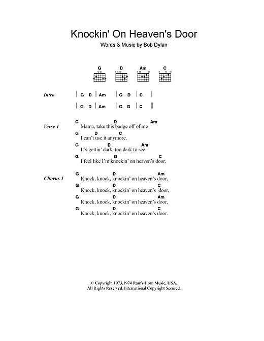 Knockin' On Heaven's Door (Guitar Chords/Lyrics)