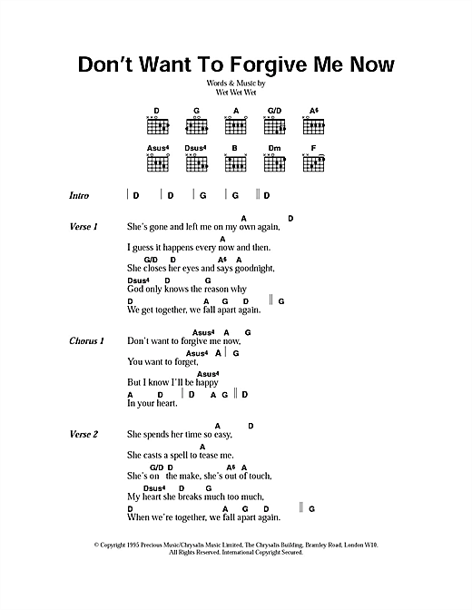 Don't Want To Forgive Me Now Sheet Music