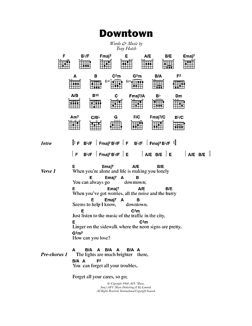 Downtown (Guitar Chords/Lyrics)