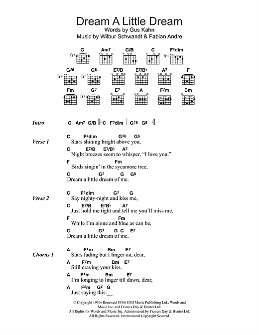 Dream A Little Dream Of Me sheet music by The Mamas u0026 The Papas (Lyrics u0026 Chords u2013 102172)