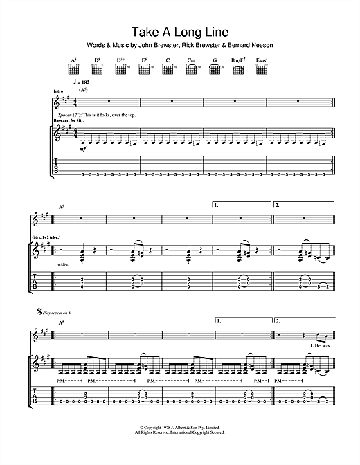 Take A Long Line Sheet Music