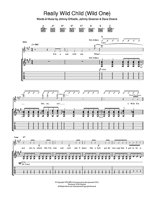 Tablature guitare Real Wild Child (Wild One) de Iggy Pop & Jet - Tablature Guitare