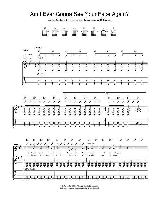 Am I Ever Going To See Your Face Again Sheet Music