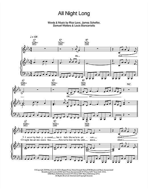 All Night Long Sheet Music