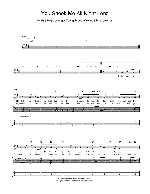 Tablature guitare You Shook Me All Night Long de AC/DC - Tablature Basse