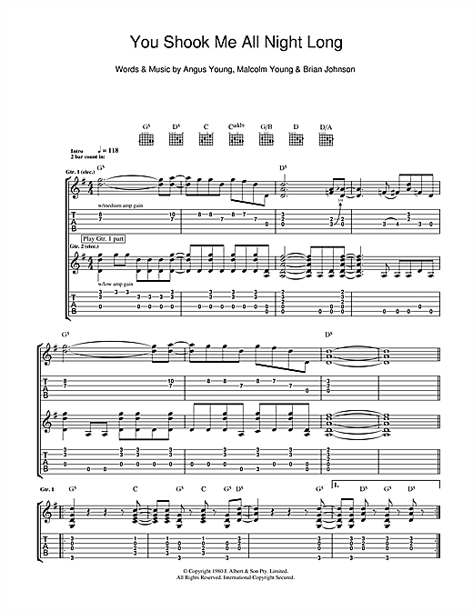 You Shook Me All Night Long Sheet Music