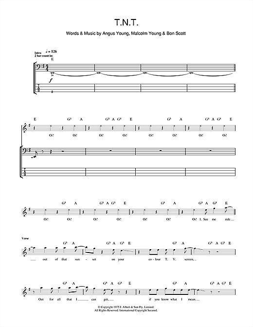 T.N.T. Bass Guitar Tab by AC/DC (Bass Guitar Tab u2013 102204)