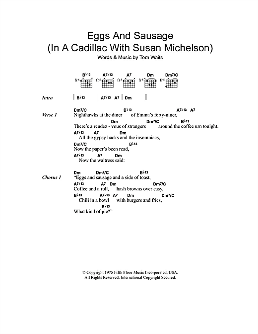 Eggs And Sausage (In A Cadillac With Susan Michelson) Sheet Music