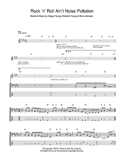 Tablature guitare Rock And Roll Ain't Noise Pollution de AC/DC - Tablature Basse