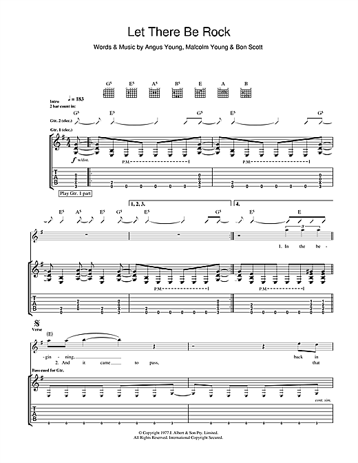 Tablature guitare Let There Be Rock de AC/DC - Tablature Guitare