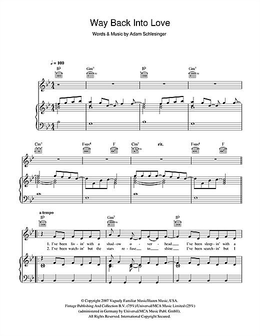 Way Back Into Love (from the soundtrack to 'Music And Lyrics') Sheet Music