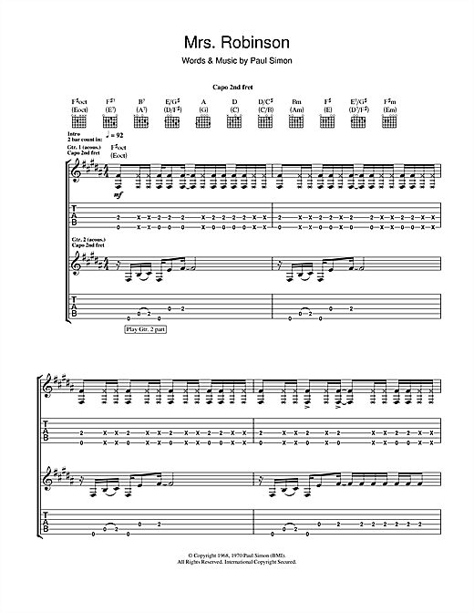 Tablature guitare Mrs. Robinson de Simon & Garfunkel - Tablature Guitare