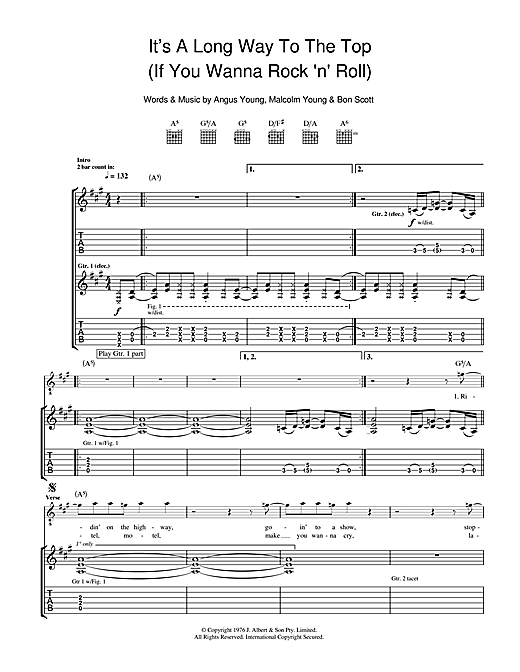 It's A Long Way To The Top (If You Wanna Rock 'N' Roll) Sheet Music