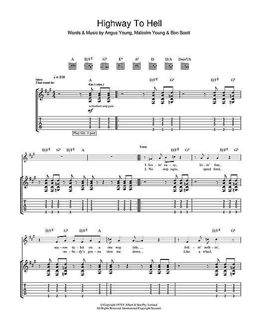 Assez Highway To Hell Guitar Tab by AC/DC (Guitar Tab – 102267) CI36