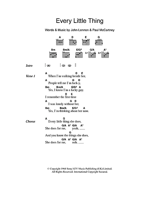 Every Little Thing Sheet Music