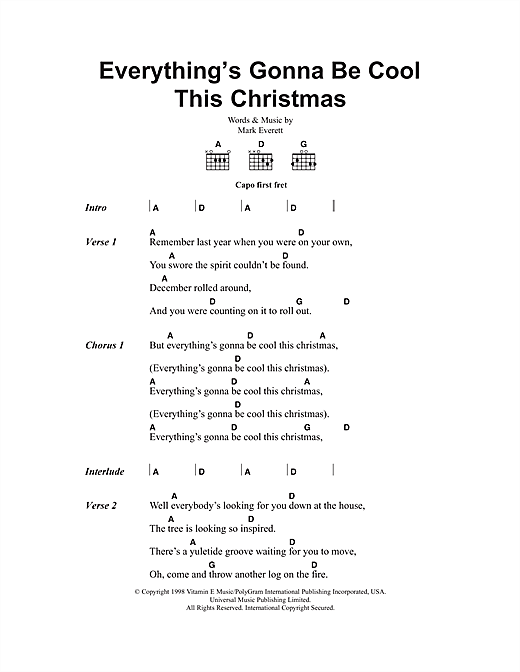 Everything's Gonna Be Cool This Christmas Sheet Music