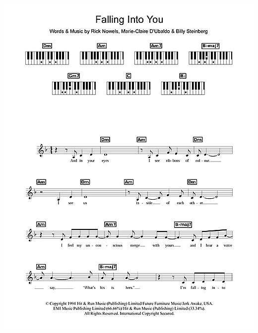 Falling Into You Sheet Music