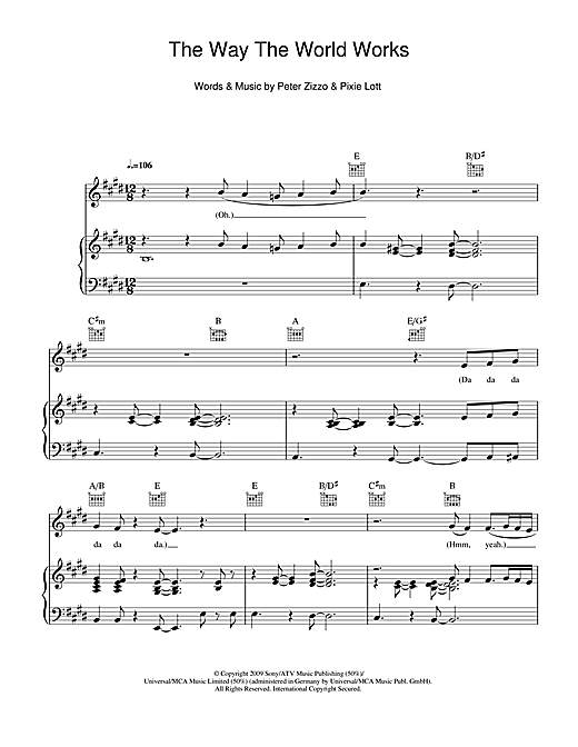 The Way The World Works Sheet Music