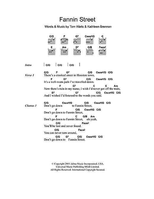 Fannin Street Sheet Music