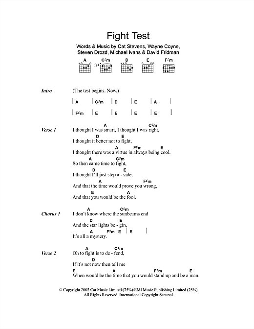 Fight Test Sheet Music