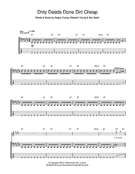 Tablature guitare Dirty Deeds Done Dirt Cheap de AC/DC - Tablature Basse