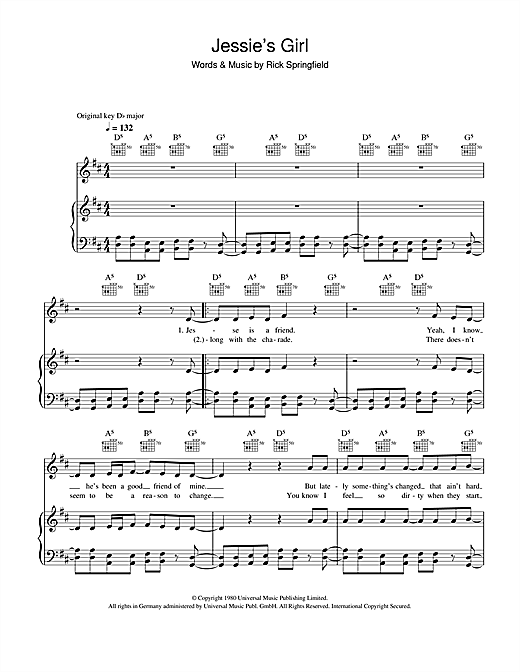 Jessie's Girl (Piano, Vocal & Guitar (Right-Hand Melody))