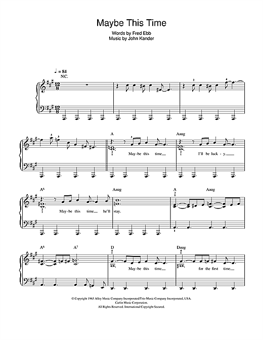 Partition piano Maybe This Time de Glee Cast - Piano Facile