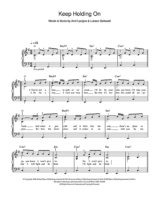 Keep Holding On Sheet Music