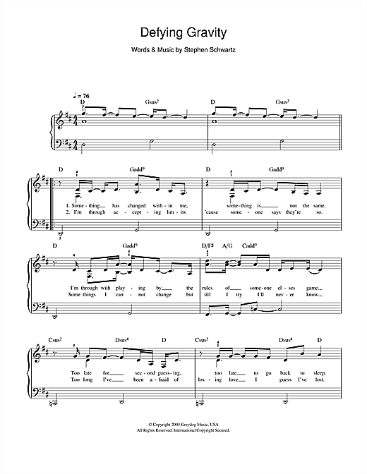 Defying Gravity (from the Broadway Musical Wicked) Sheet Music