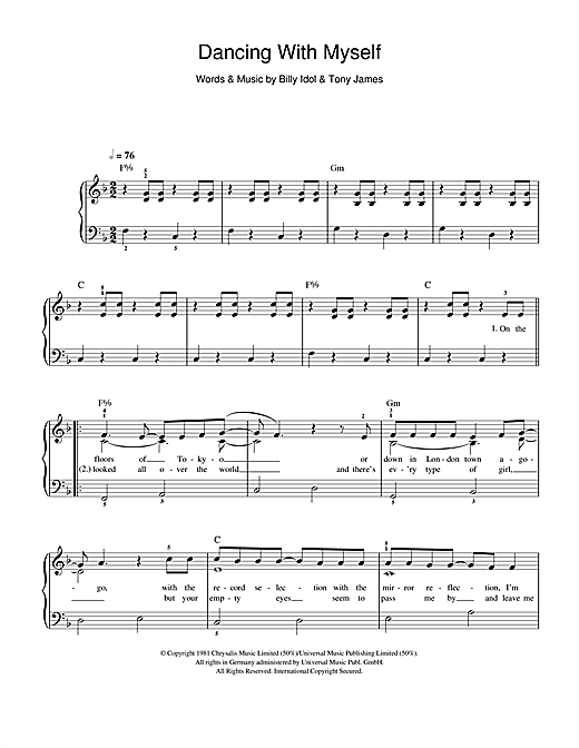 Partition piano Dancing With Myself de Glee Cast - Piano Facile