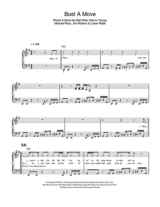 Bust A Move Sheet Music