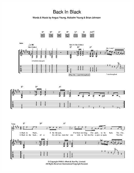 Back In Black Guitar Tab by AC/DC (Guitar Tab u2013 102345)