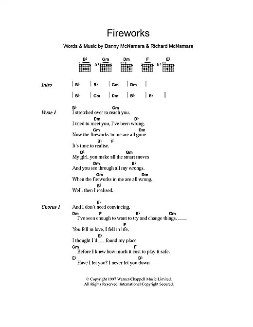 Fireworks Sheet Music