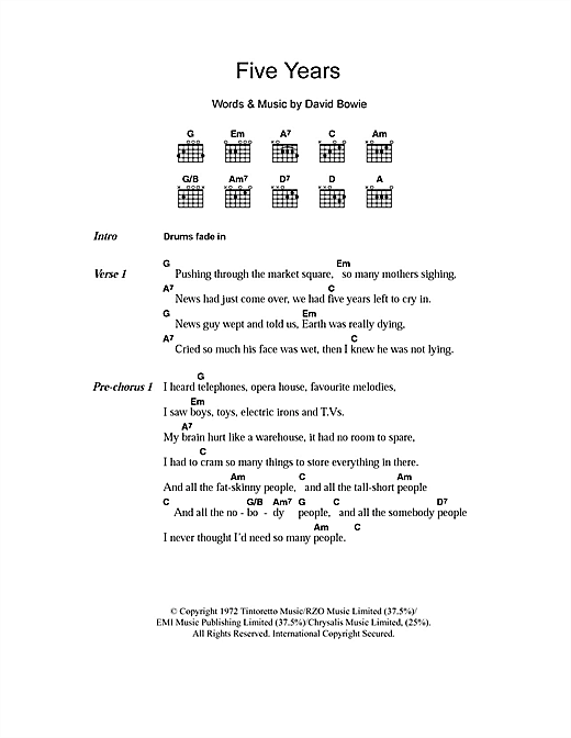 Five Years Sheet Music
