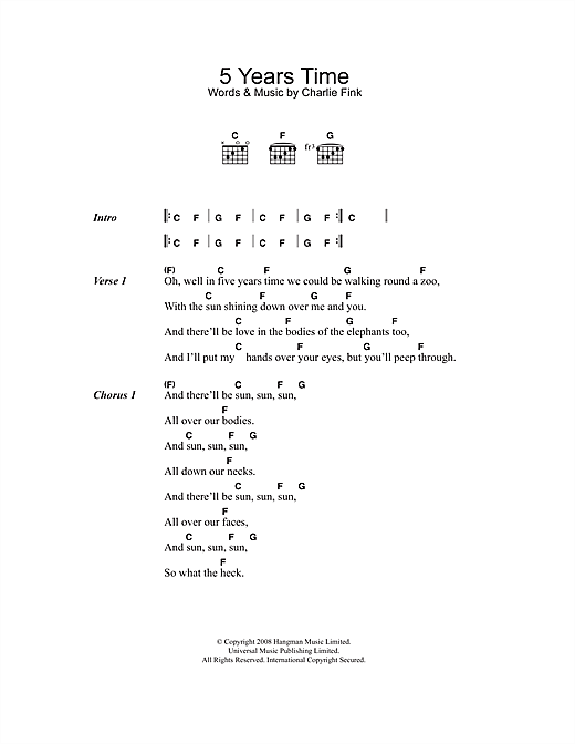 5 Years Time Sheet Music By Noah And The Whale Lyrics Chords