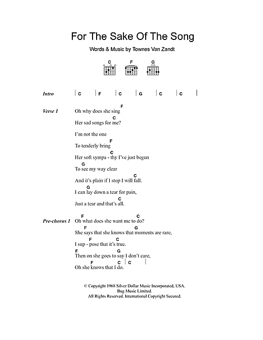 For The Sake Of The Song (Guitar Chords/Lyrics)