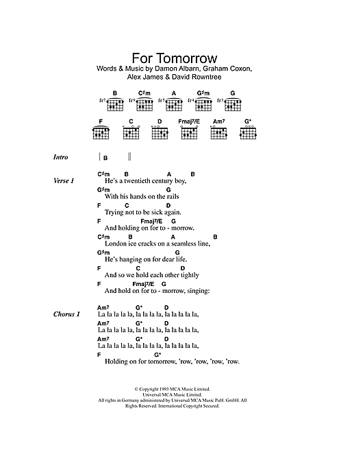 For Tomorrow Sheet Music By Blur Lyrics Chords 102384