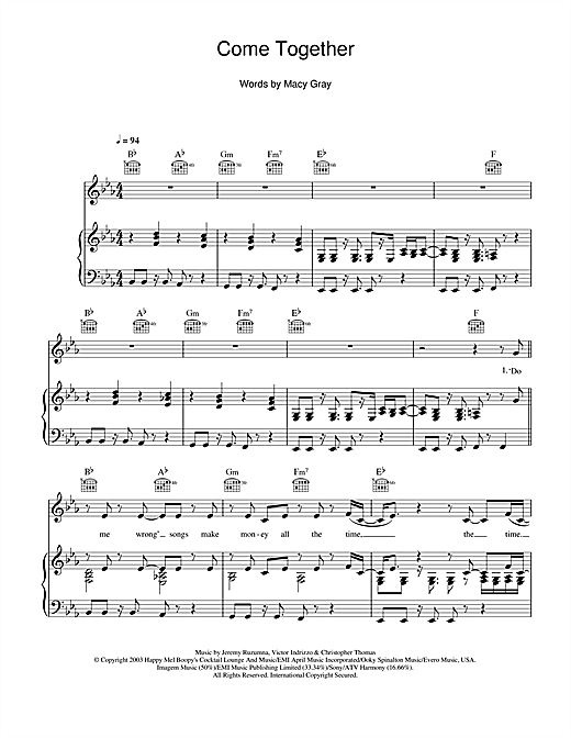 Come Together (Piano, Vocal & Guitar (Right-Hand Melody))
