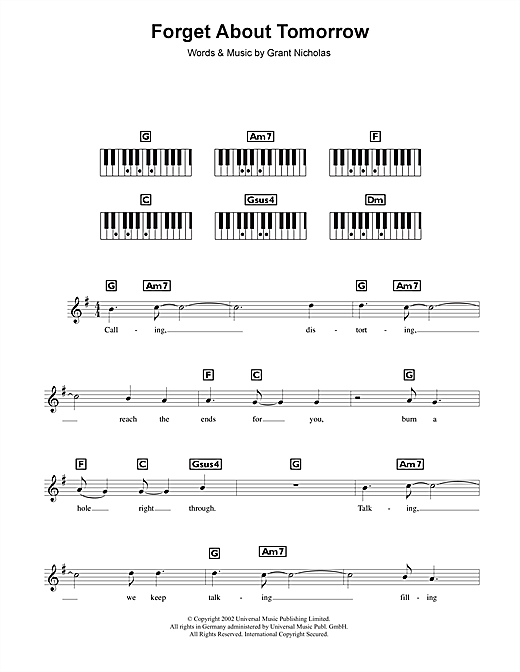Forget About Tomorrow Sheet Music
