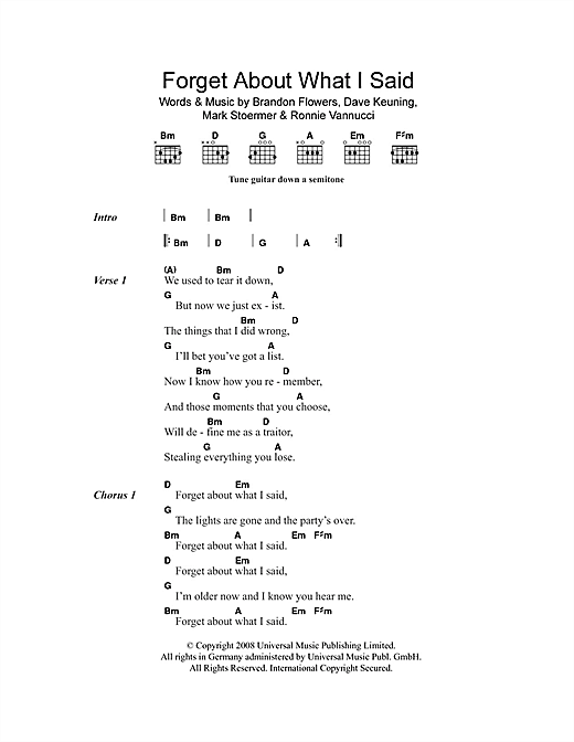 Forget About What I Said (Guitar Chords/Lyrics)