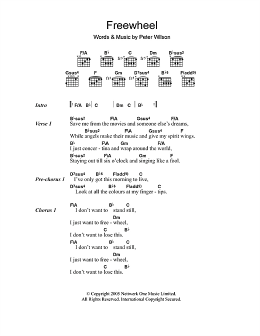 Freewheel (Guitar Chords/Lyrics)