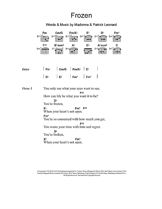 Frozen (Guitar Chords/Lyrics)